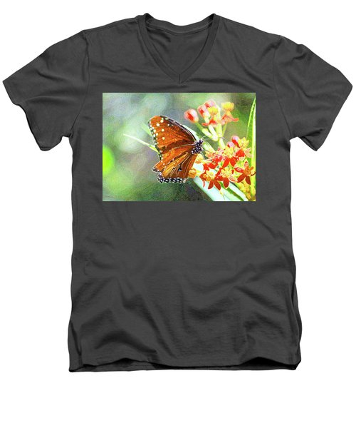 Queen Butterfly Men's V-Neck T-Shirt by Inspirational Photo Creations Audrey Woods