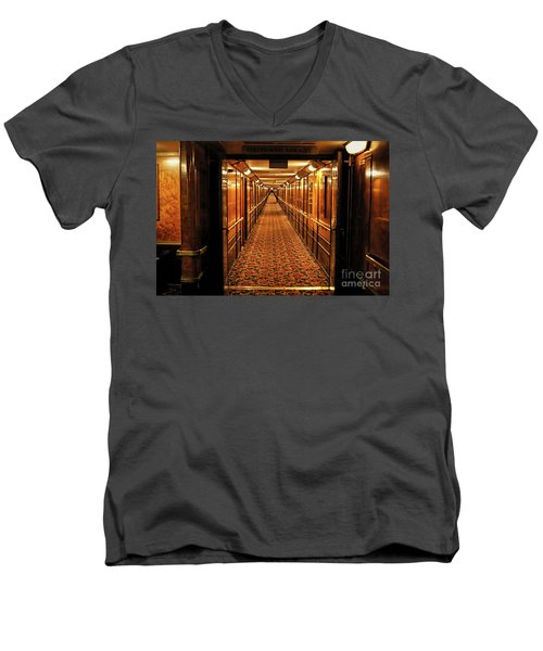 Men's V-Neck T-Shirt featuring the photograph Queen Mary Hallway by Mariola Bitner