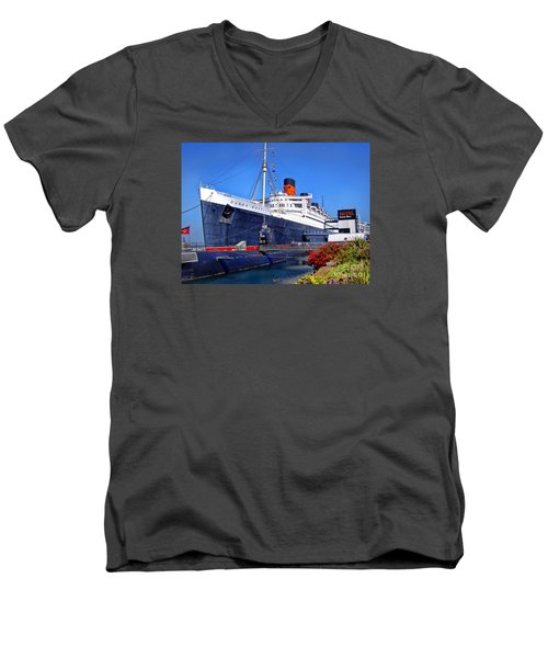 Men's V-Neck T-Shirt featuring the photograph Queen Mary Ship by Mariola Bitner