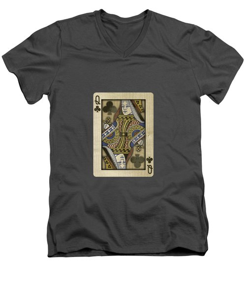 Queen Of Clubs In Wood Men's V-Neck T-Shirt by YoPedro