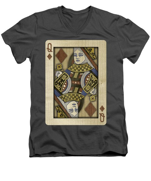 Queen Of Diamonds In Wood Men's V-Neck T-Shirt by YoPedro