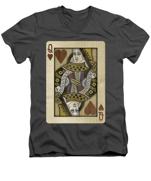 Queen Of Hearts In Wood Men's V-Neck T-Shirt by YoPedro