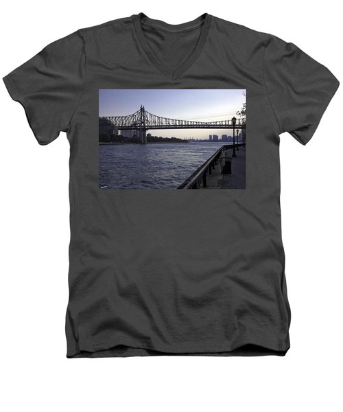 Queensboro Bridge - Manhattan Men's V-Neck T-Shirt by Madeline Ellis
