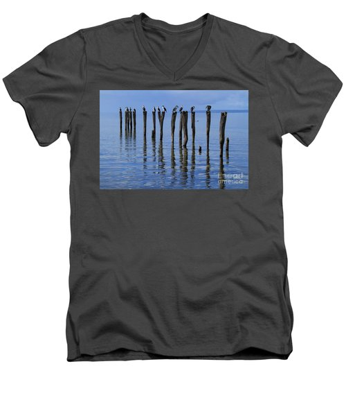 Men's V-Neck T-Shirt featuring the photograph Queue Reflected by Stephen Mitchell