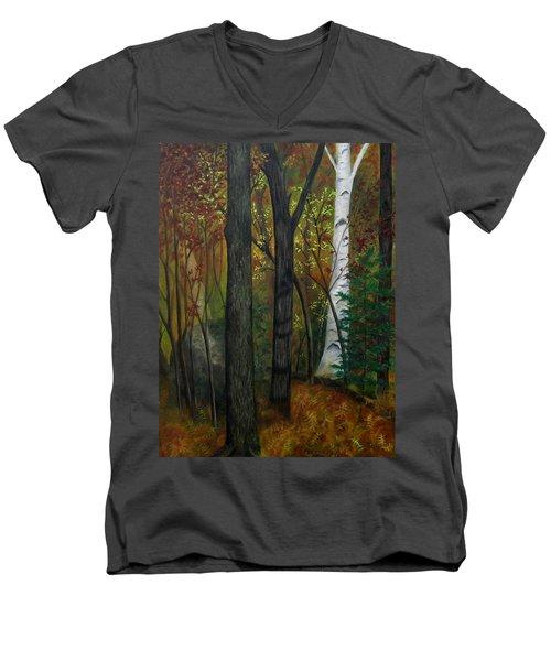 Quiet Autumn Woods Men's V-Neck T-Shirt