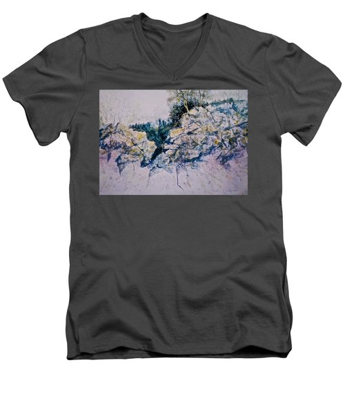 Men's V-Neck T-Shirt featuring the painting Quiet Journey by Carolyn Rosenberger