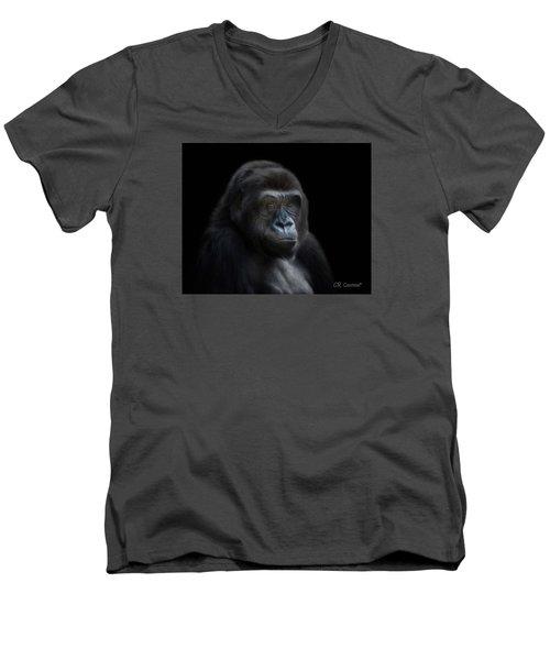 Quiet Moment Men's V-Neck T-Shirt by CR  Courson