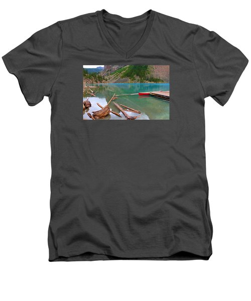 Moraine Lake I, Alberta Men's V-Neck T-Shirt by Heather Vopni