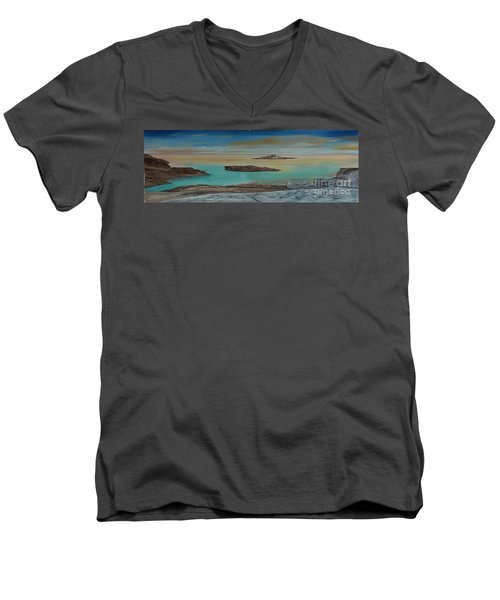 Men's V-Neck T-Shirt featuring the painting Quiet Tropical Waters by Rod Jellison