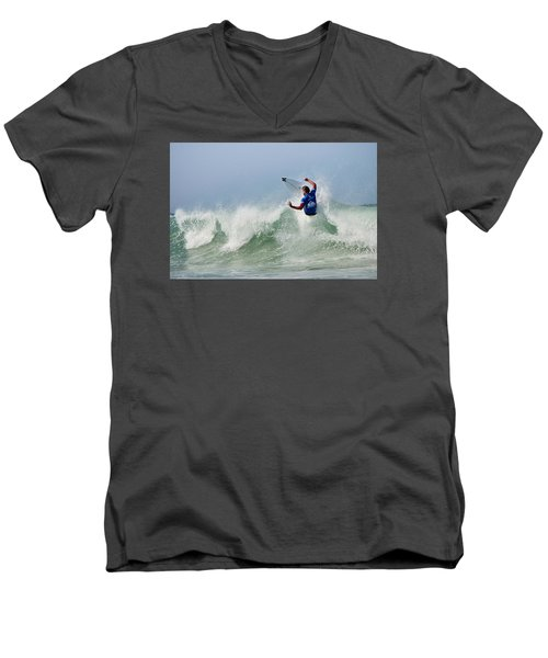Men's V-Neck T-Shirt featuring the photograph Quiksilver Pro France I by Thierry Bouriat