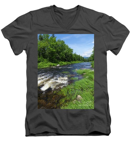 Quill Pond Brook Near Rangeley Maine  -70748 Men's V-Neck T-Shirt