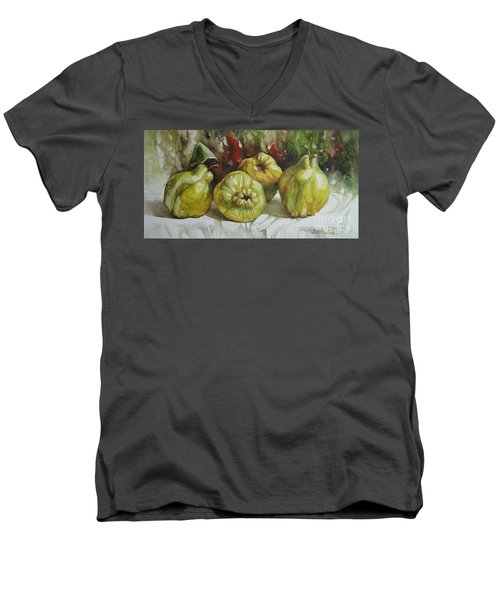 Men's V-Neck T-Shirt featuring the painting Quinces by Elena Oleniuc