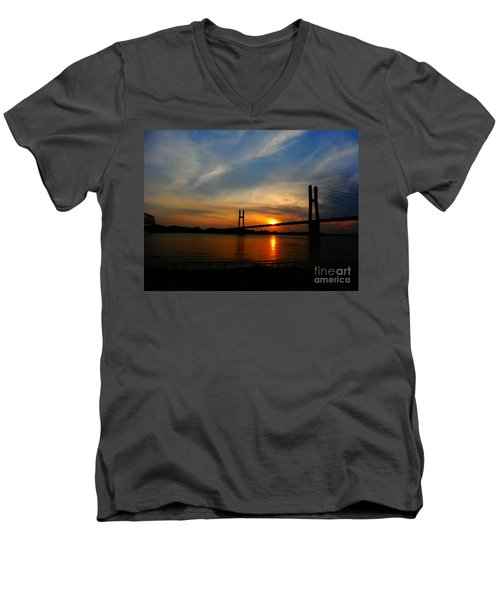 Quincy Bay View Bridge Sunset Men's V-Neck T-Shirt by Justin Moore