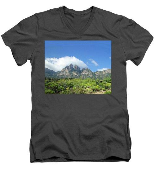 Men's V-Neck T-Shirt featuring the photograph  Organ Mountains Rabbit Ears by Jack Pumphrey