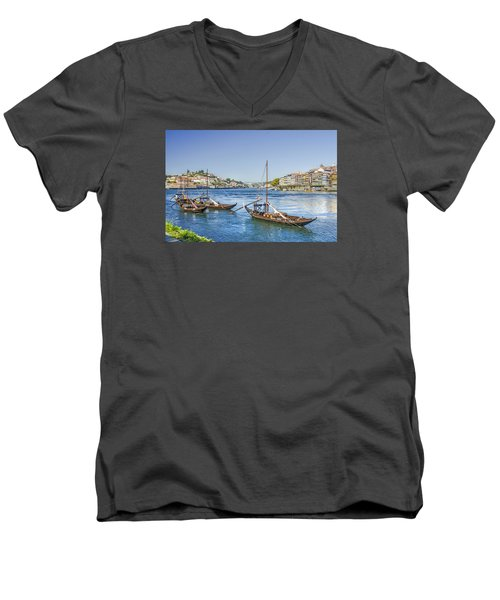 Men's V-Neck T-Shirt featuring the photograph Rabelos On The Douro by Brian Tarr