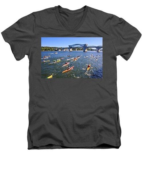 Race On The River Men's V-Neck T-Shirt