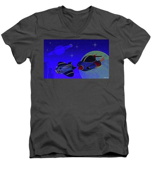 Race Thru Space Men's V-Neck T-Shirt by Ken Morris