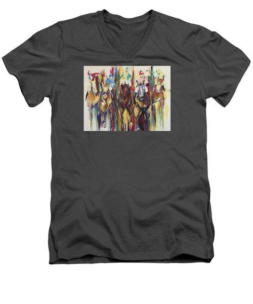 Race Track Men's V-Neck T-Shirt by Heather Roddy