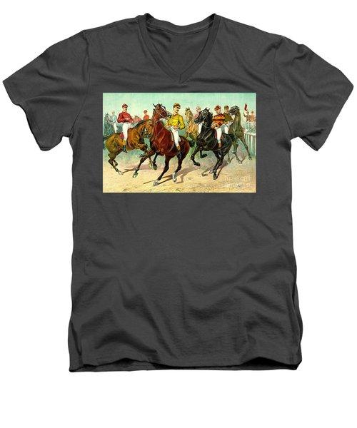 Racehorses 1893 Men's V-Neck T-Shirt by Padre Art