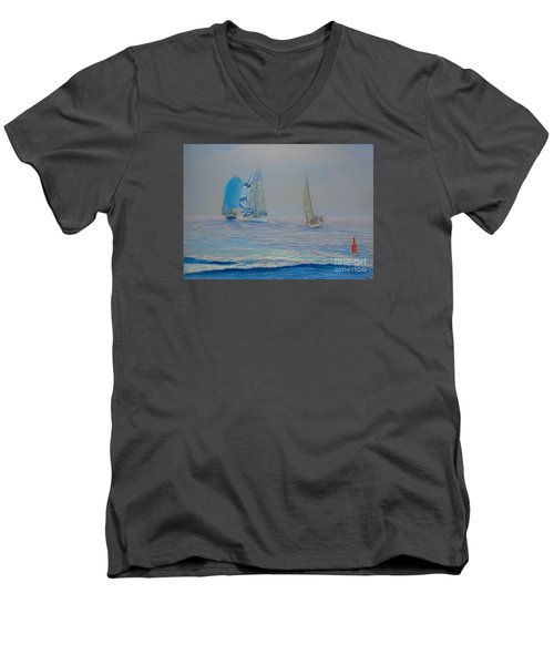 Raceing In The Fog Men's V-Neck T-Shirt by Rae  Smith