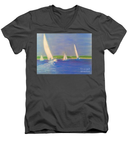 Racing Off Chester Men's V-Neck T-Shirt by Rae  Smith
