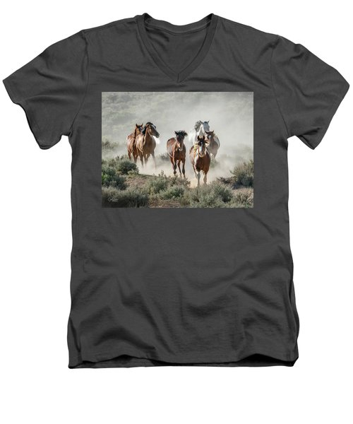 Racing To The Water Hole Men's V-Neck T-Shirt