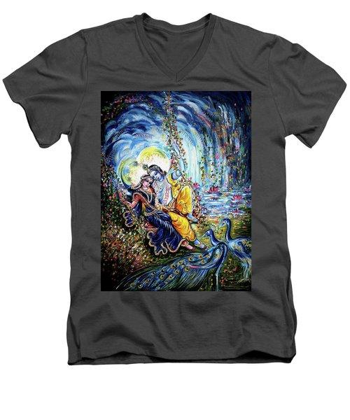 Radha Krishna Jhoola Leela Men's V-Neck T-Shirt by Harsh Malik