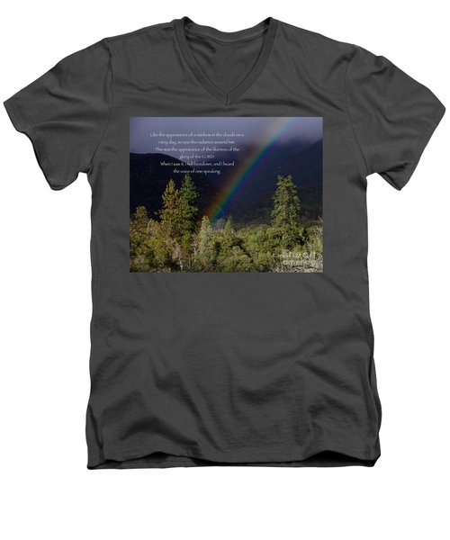 Men's V-Neck T-Shirt featuring the photograph Radiance Of The Rainbow by Debby Pueschel