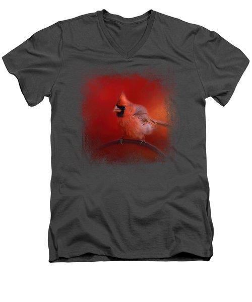 Radiant Red Bird Men's V-Neck T-Shirt