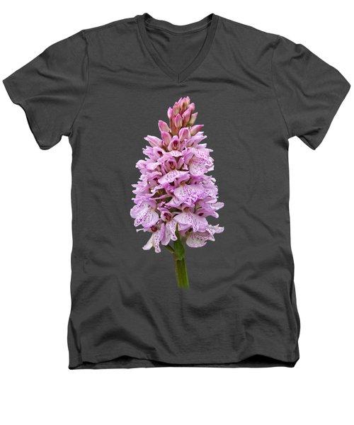 Radiant Wild Pink Spotted Orchid Men's V-Neck T-Shirt by Gill Billington