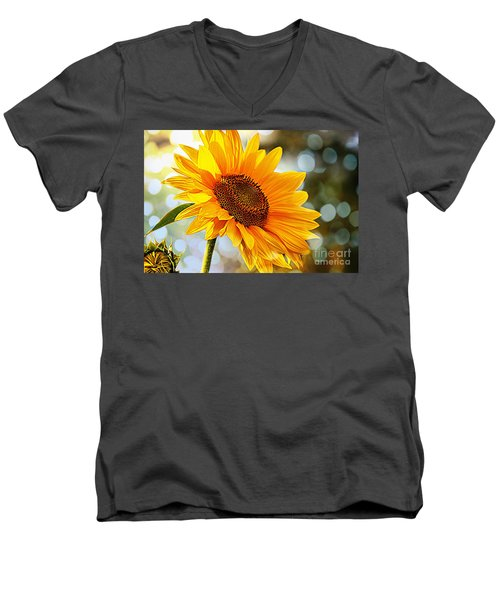 Radiant Yellow Sunflower Men's V-Neck T-Shirt