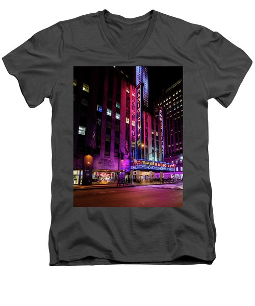 Men's V-Neck T-Shirt featuring the photograph Radio City Music Hall by M G Whittingham