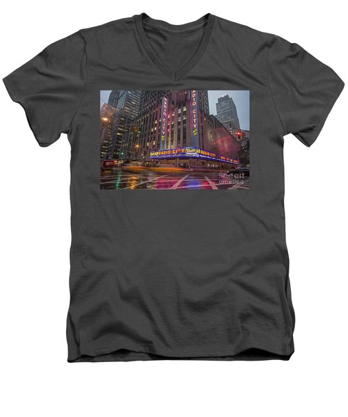 Men's V-Neck T-Shirt featuring the photograph Radio City New York  by Juergen Held