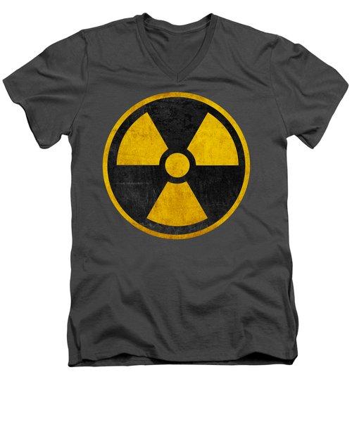 Vintage Distressed Nuclear War Fallout Shelter Sign Men's V-Neck T-Shirt