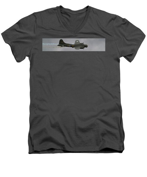 Raf Scampton 2017 - B-17 Flying Fortress Sally B Smoke Men's V-Neck T-Shirt