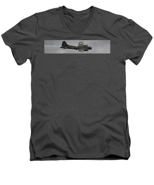 Raf Scampton 2017 - B-17 Flying Fortress Sally B Smoke Men's V-Neck T-Shirt