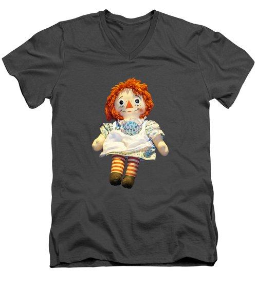 Raggedy Ann Doll Men's V-Neck T-Shirt by Pamela Walton