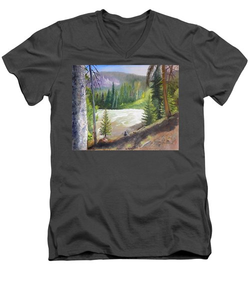 Men's V-Neck T-Shirt featuring the painting Raging River by Sherril Porter
