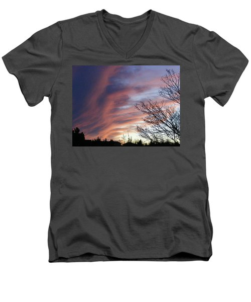 Men's V-Neck T-Shirt featuring the photograph Raging Sky by Barbara Griffin