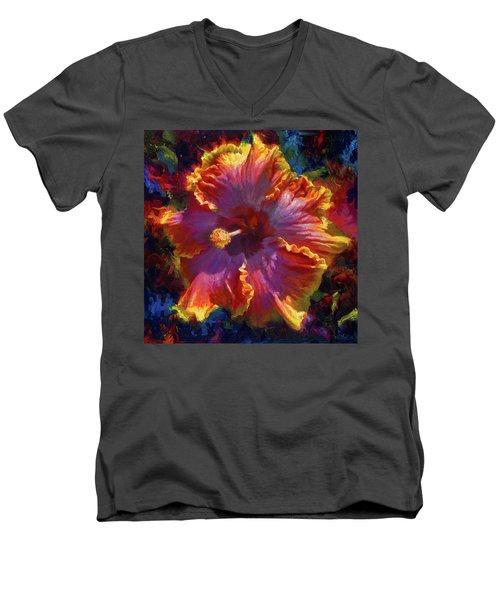 Rainbow Hibiscus Tropical Flower Wall Art Botanical Oil Painting Radiance  Men's V-Neck T-Shirt