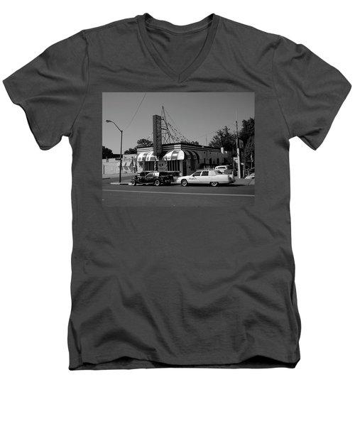 Men's V-Neck T-Shirt featuring the photograph Raifords Disco Memphis A Bw by Mark Czerniec