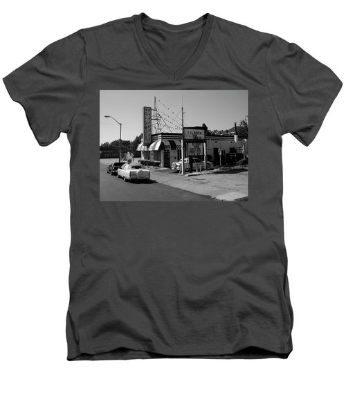 Men's V-Neck T-Shirt featuring the photograph Raifords Disco Memphis B Bw by Mark Czerniec