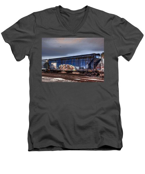 Men's V-Neck T-Shirt featuring the photograph Rail Art by Robert Pearson