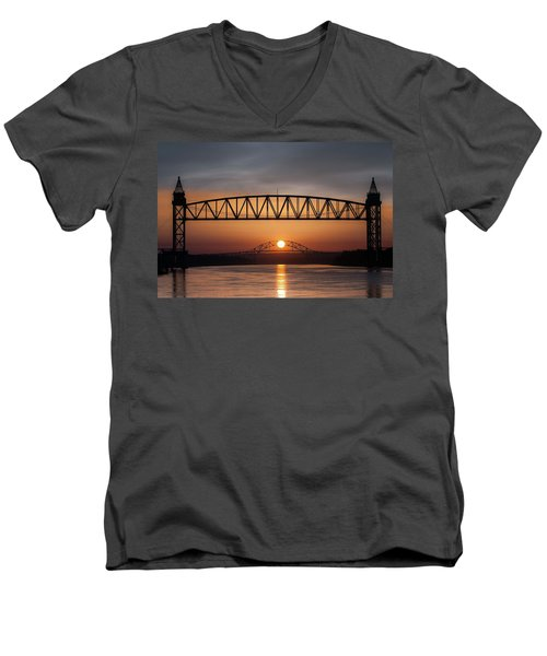 Railroad Bridge Framing The Bourne Bridge During A Sunrise Men's V-Neck T-Shirt