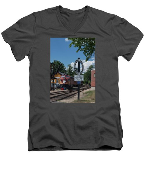 Men's V-Neck T-Shirt featuring the photograph Railroad Crossing by Suzanne Gaff