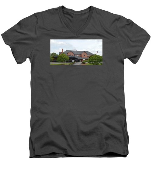Railroad Depot Men's V-Neck T-Shirt by Linda Geiger