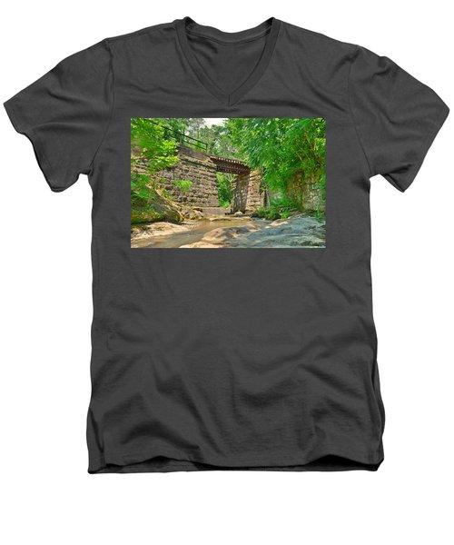 Railroad Tracks At Buttermilk/homewood Falls Men's V-Neck T-Shirt