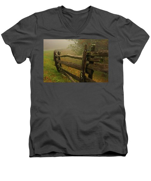 Rails Of Time Men's V-Neck T-Shirt by Dale R Carlson