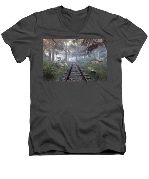 Rails To A Forgotten Place Men's V-Neck T-Shirt by Kai Saarto