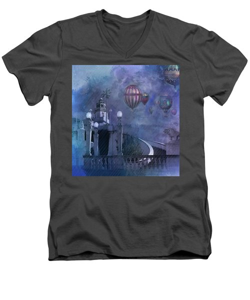 Men's V-Neck T-Shirt featuring the digital art Rain And Balloons At Hearst Castle by Jeff Burgess